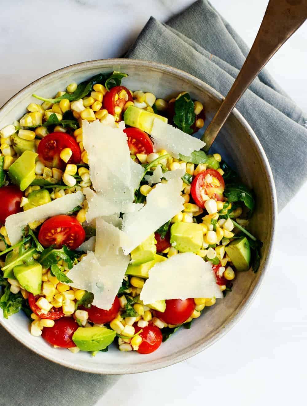 Corn Salad with Arugula served