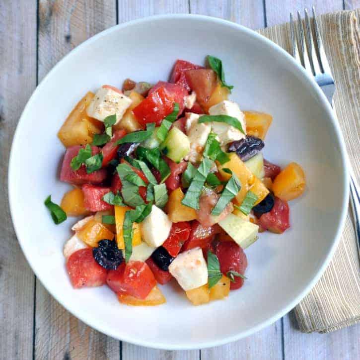Heirloom Tomato Olive Cucumber and Fresh Mozzarella Salad