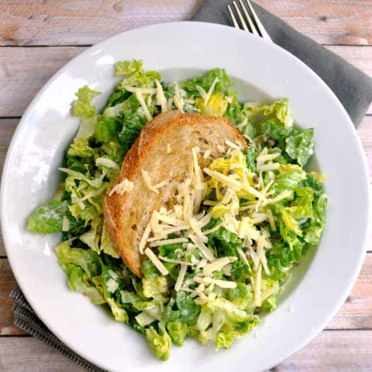 Chopped Caesar Salad with Crispy Capers and Giant Crouton - Pinch and ...