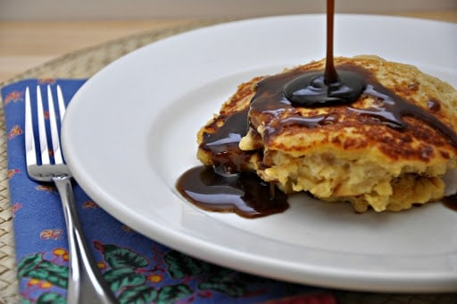 Bread Pudding Pancakes with Brown Sugar Cinnamon Syrup