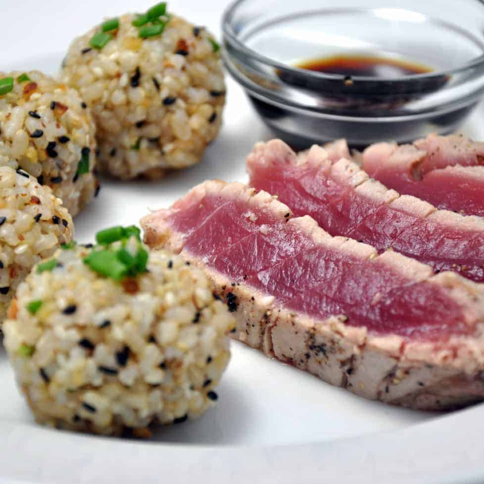 Sushi Balls and Seared Tuna