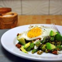 Farro with Asparagus Pesto Avocado and Fried Egg