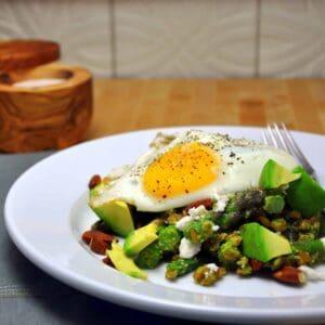 Farro with Asparagus Pesto Avocado and Fried Egg