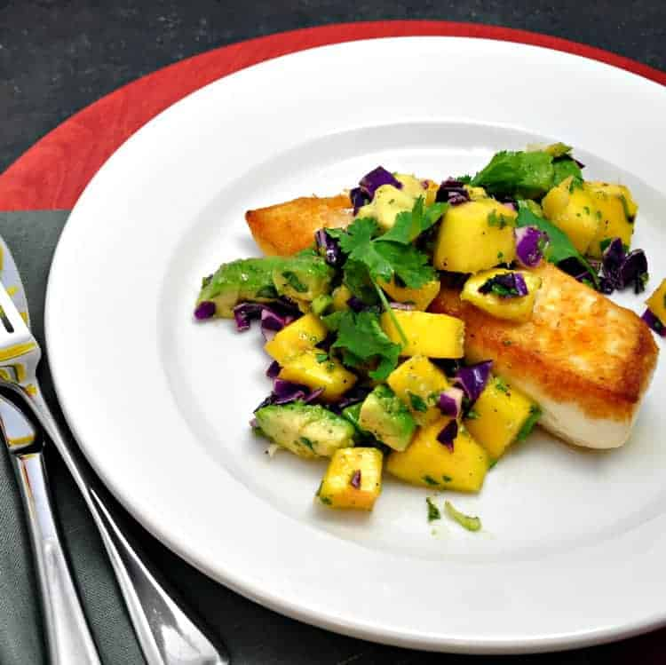 Halibut with Mango Avocado Salsa