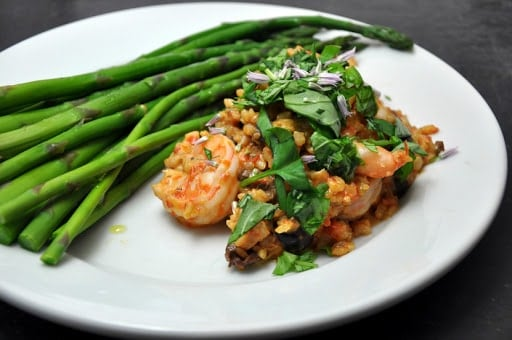 Tomato and Shrimp Risotto with Asparagus