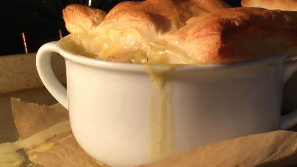 Baking Chicken Pot Pie until Pastry is Puffed and Golden Brown