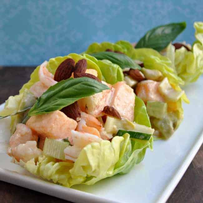 Shrimp Melon and Cucumber Salad with Spicy Mayonnaise