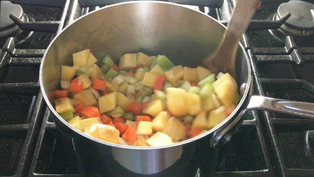 Stirring in Remaining Vegetables