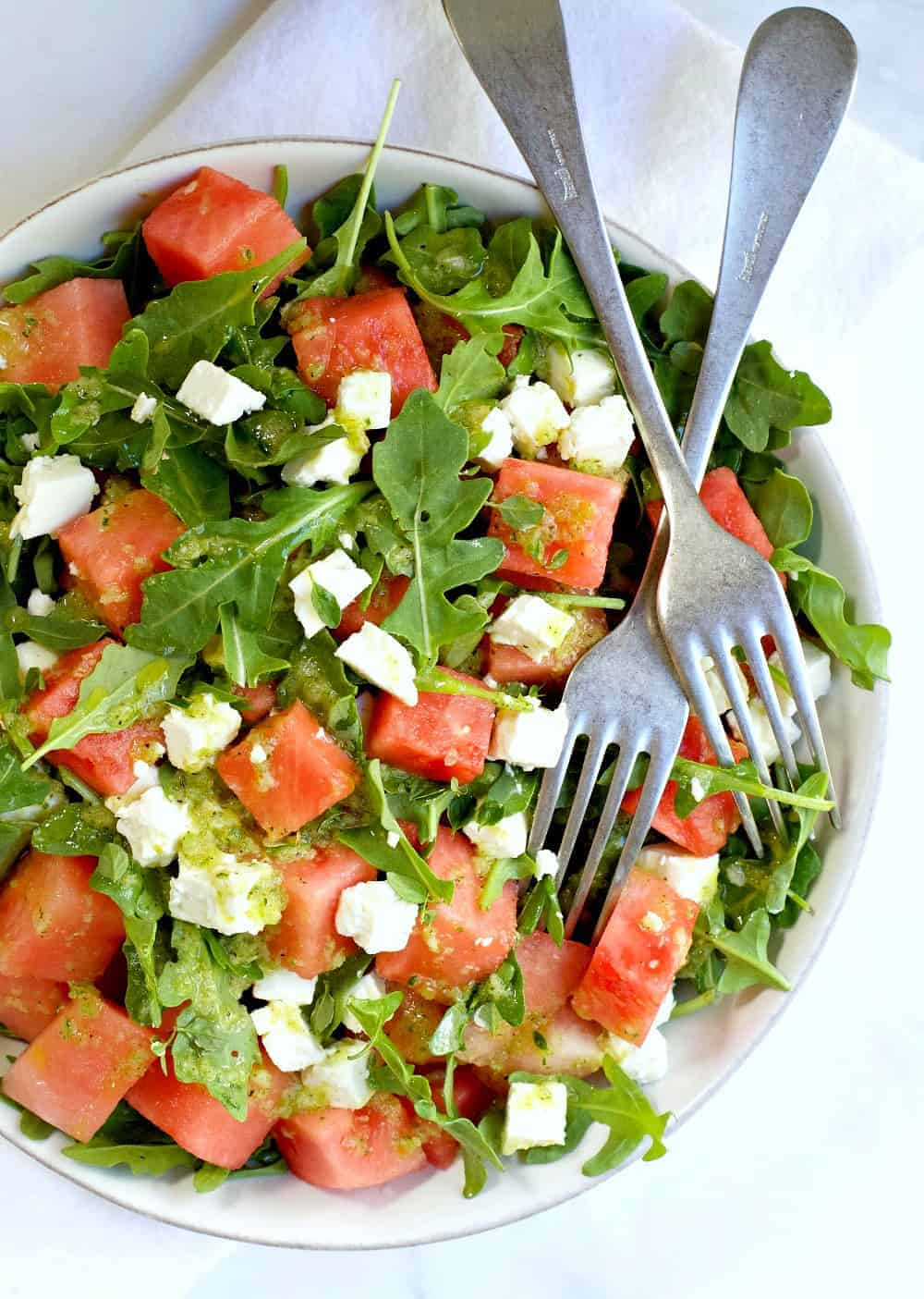 Watermelon and Arugula Salad with Feta photographed from above