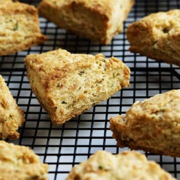 savory scones on a cooling rack