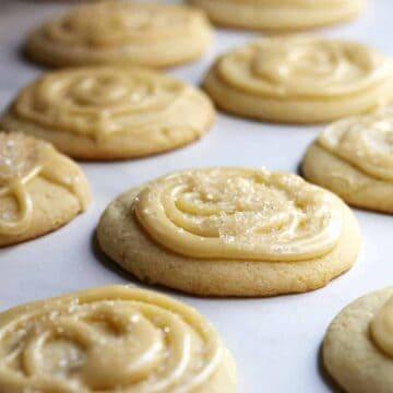 Soft Sugar Cookies on parchment paper