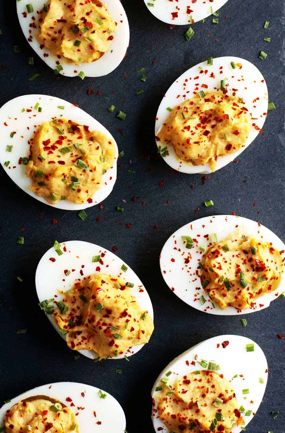 Spicy Deviled Eggs photographed from above