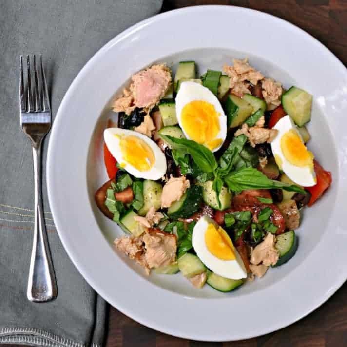 Potato Salad w Tuna Olives Tomatoes and Capers