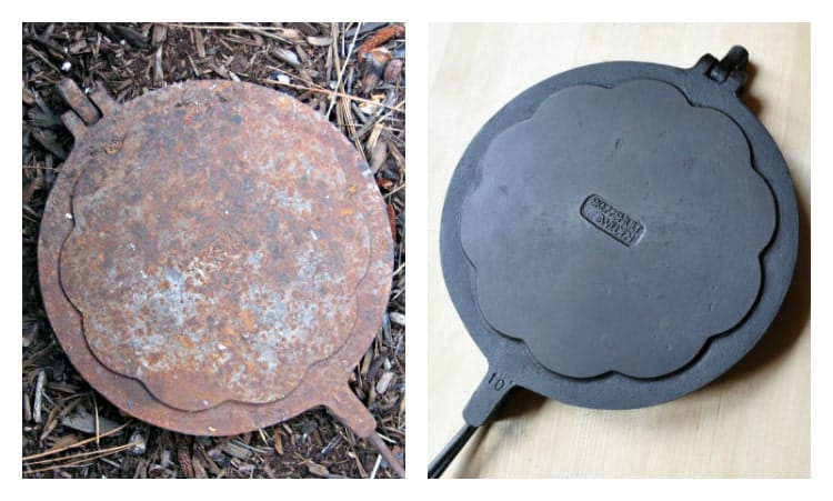 Restoring Cast Iron Using Electrolysis and Flax Oil - Pinch and Swirl