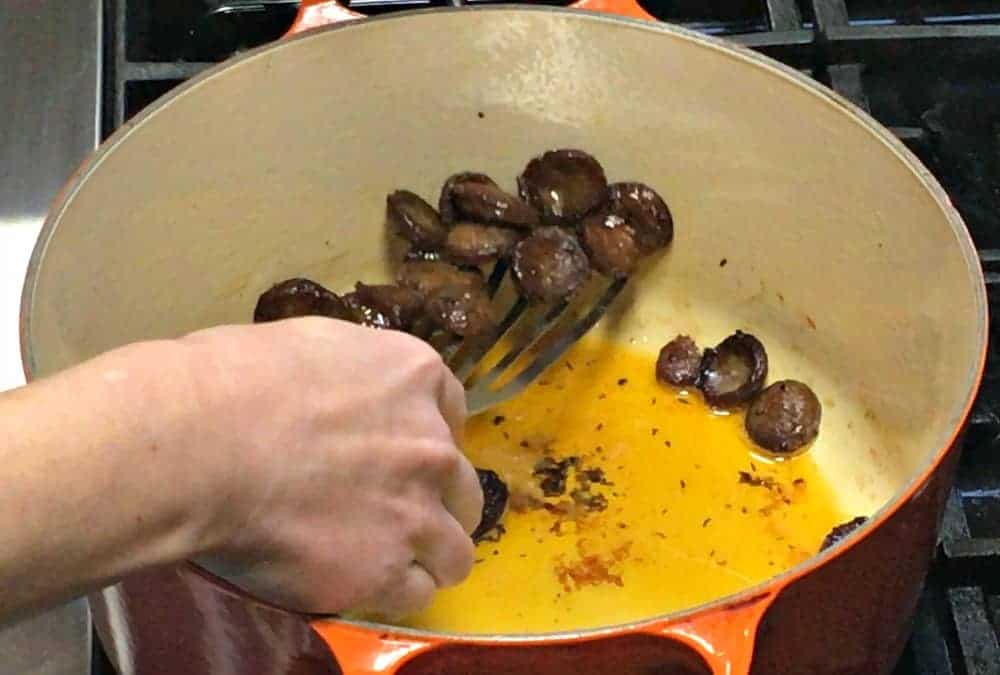 Removing Browned Sausage from the Pan