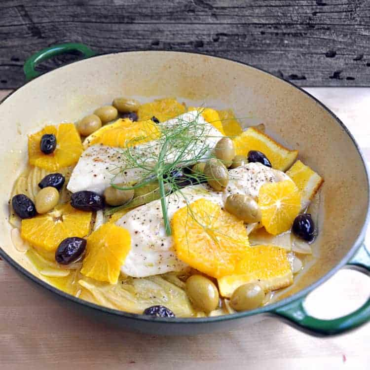Roasted Halibut w Oranges and Olives