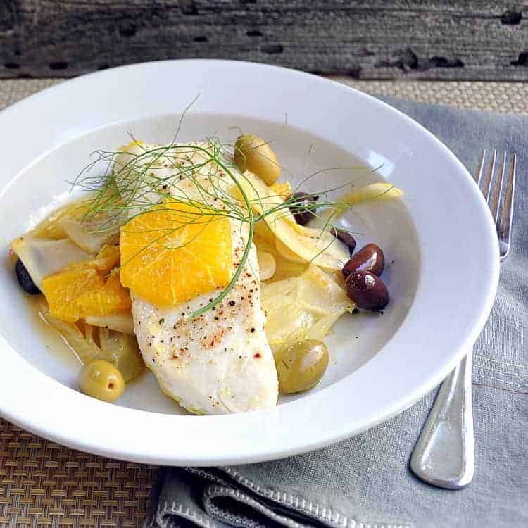 Roasted Halibut with Oranges and Olives