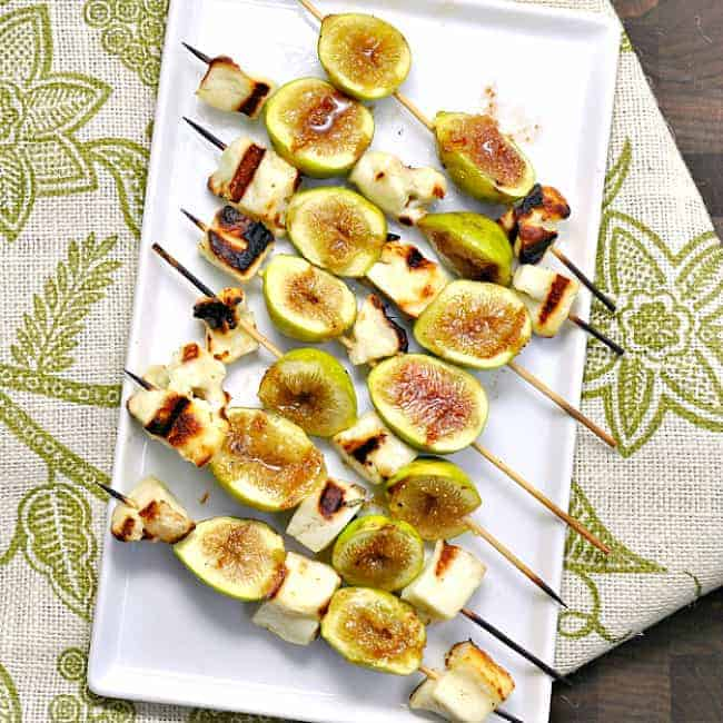 Halloumi Cheese and Fig Kabobs served on a white platter