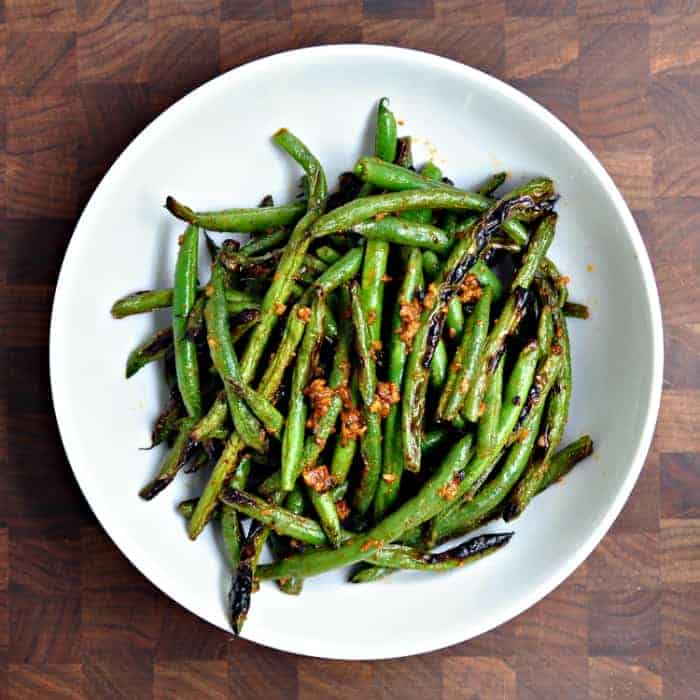grilled green beans and roasted green beans with herbs green beans