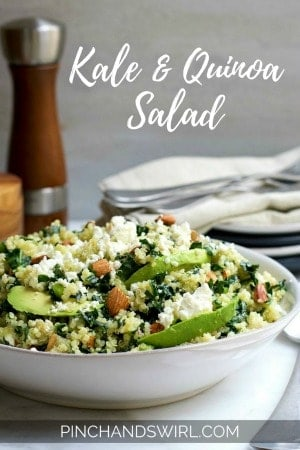 Kale and Quinoa Salad is a meal on it's own with buttery avocado, creamy feta cheese and crunchy almonds, every bite is a little different. #vegetarianrecipes #kale #quinoa