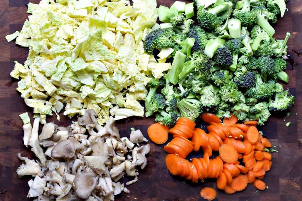 Vegetables chopped for Tom Kha Gai