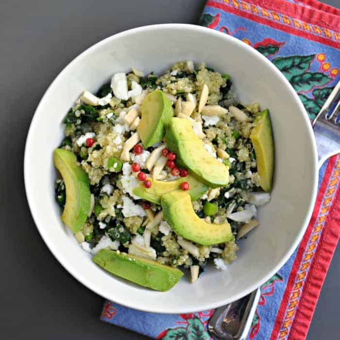 Warm Kale and Quinoa Salad with Avocado, Almonds, and Feta - Pinch and ...