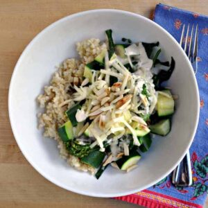 Brown Rice and Vegetables with White Bean Tahini Sauce
