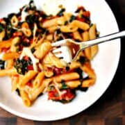 Penne-with-Slow-Roasted-Tomatoes-Kale-and-Mozzarella in a white bowl