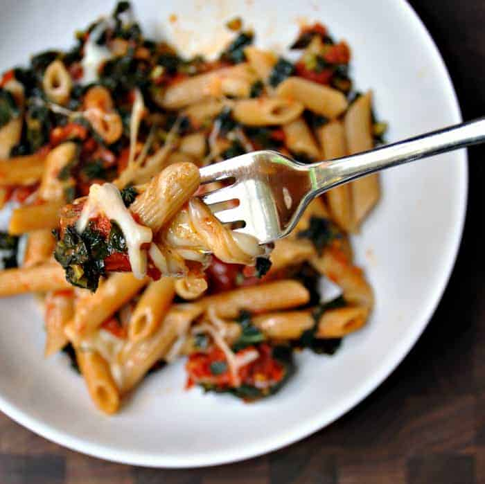 Penne with Slow Roasted Tomatoes, Kale and Mozzarella ...
