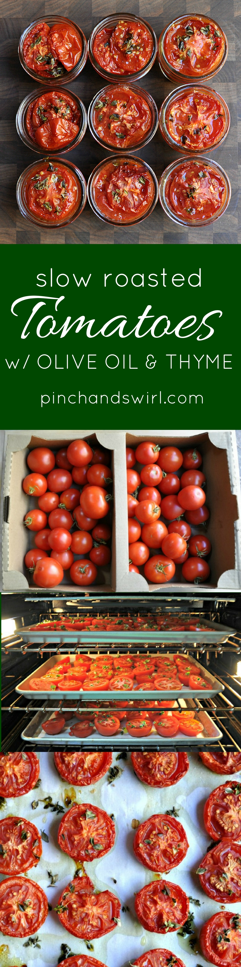 Slow Roasted Tomatoes with Olive Oil and Thyme - the lazy way (no canning!) to enjoy peak summer tomatoes all winter long! #easyrecipes #healthyrecipes #summerrecipes