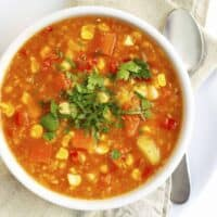 Vegan Corn Chowder served in a white bowl