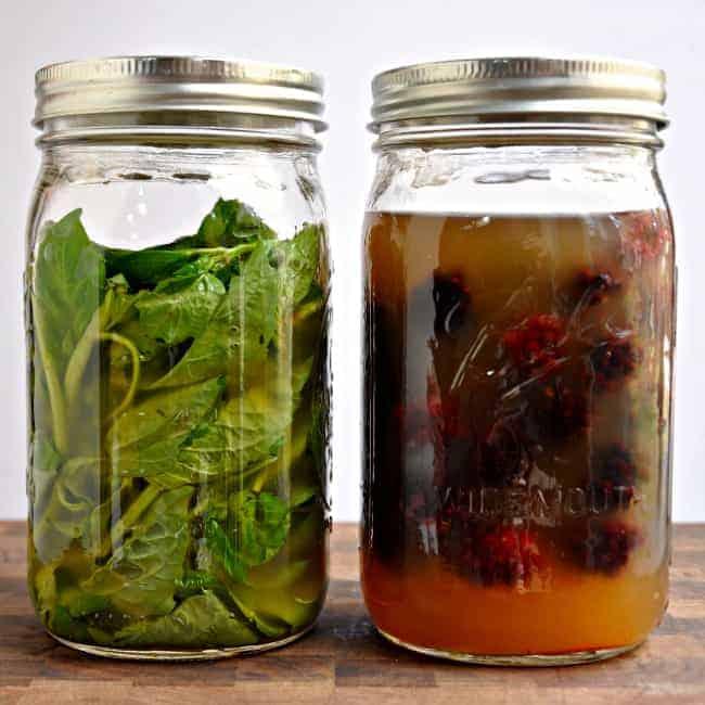 Basil and Marion Berries In Vinegar