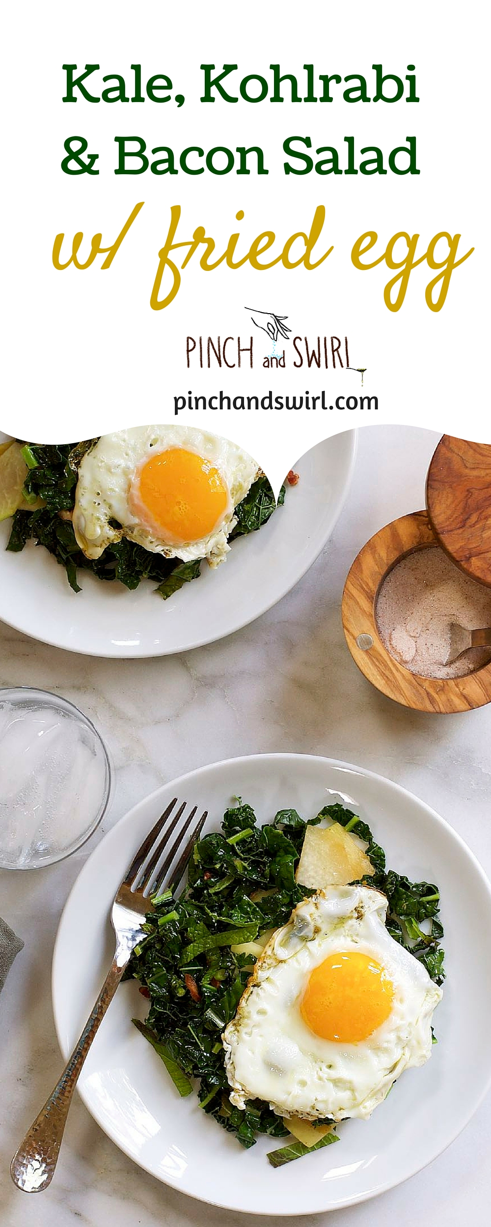 Kale Kohlrabi and Bacon Salad with Fried Egg #kale #salad #healthyrecipes #putaneggonit