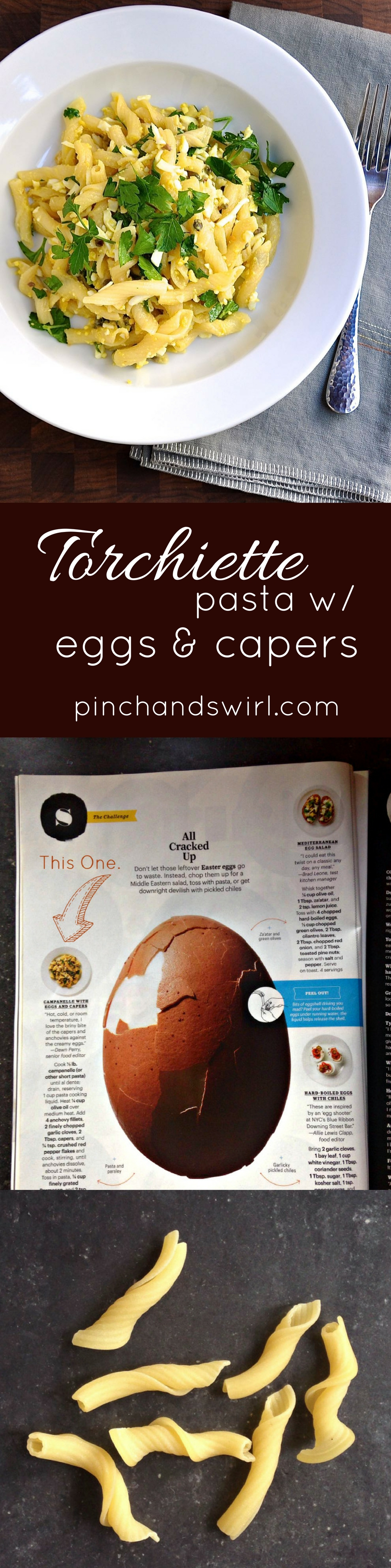 Torchiette Pasta with Eggs and Capers - Easy pasta recipe with shredded boiled eggs and capers is an absolute flavor bomb!