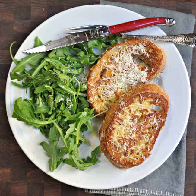 Savory French Toast with Pecorino and Arugula