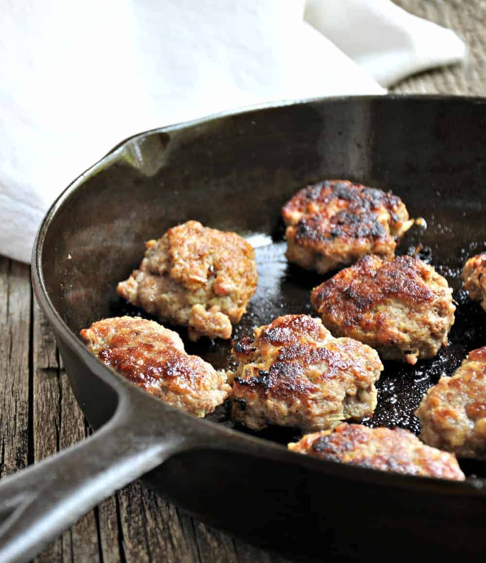 Pork Meatballs in a cast iron skillet