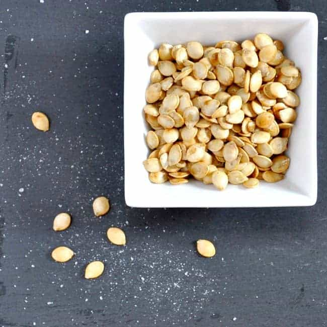 Toasted Delicata Seeds in serving bowl