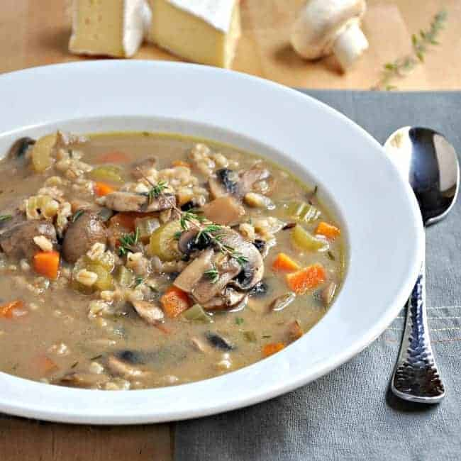 Mushroom Barley and Brie Soup - Pinch and Swirl