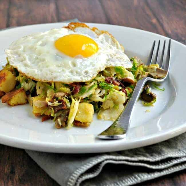 Sweet-Potato-Brussels-Sprout-Mushroom-and-Bacon-Hash-with-Fried-Egg