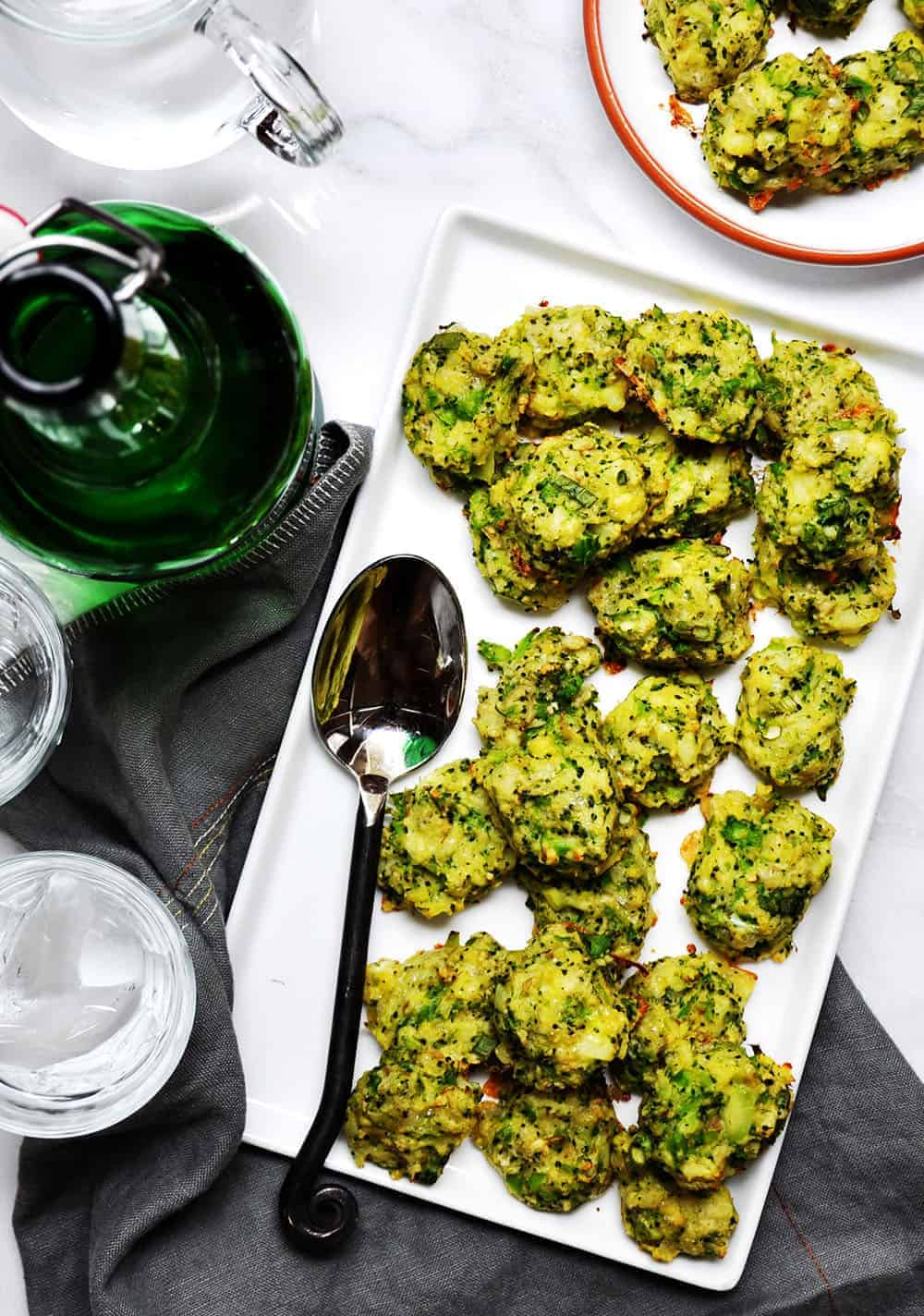 Broccoli Tots served on a white platter