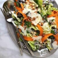 Butter Lettuce Salad with Creamy Lemon Dressing Hazelnuts and Mint sq