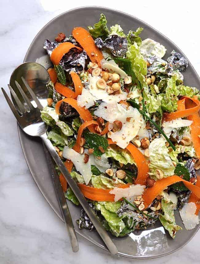 Butter Lettuce Salad with Creamy Lemon Dressing Hazelnuts and Mint