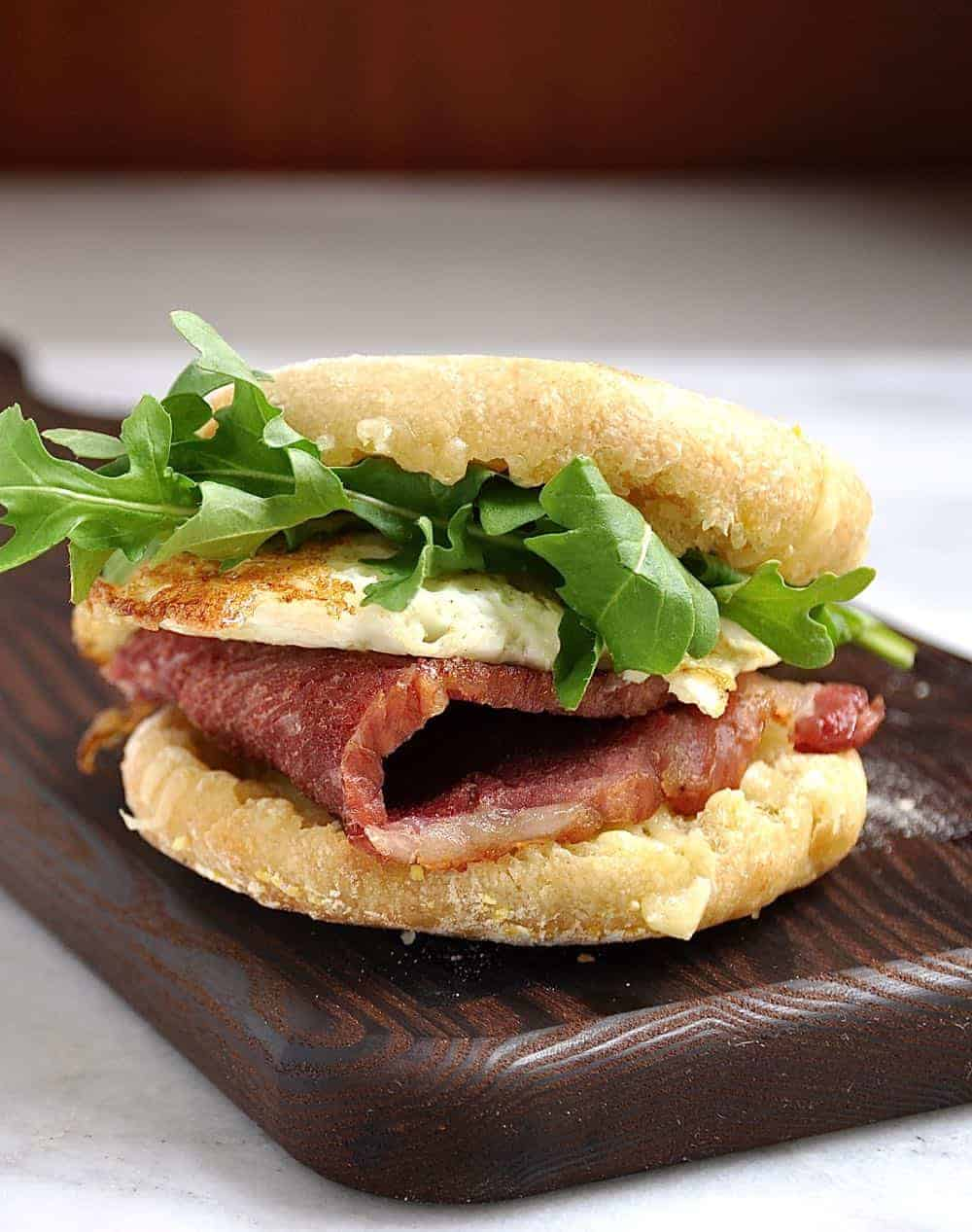 English Muffin Breakfast Sandwich ready to eat