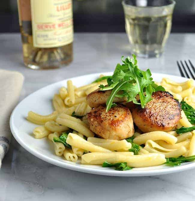 Seared Scallops With Pasta Arugula And Meyer Lemon Butter Sauce And Arugula