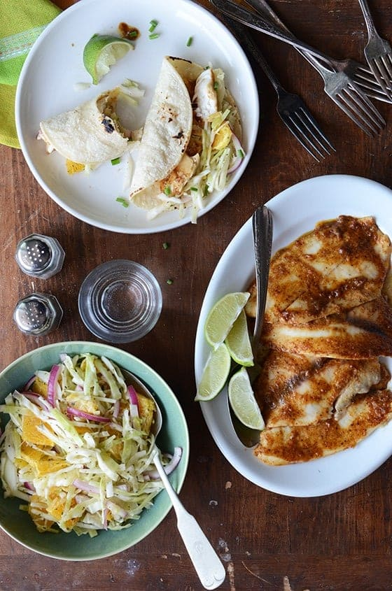 Ancho-Garlic Fish Tacos with Citrus Mint Cabbage Slaw