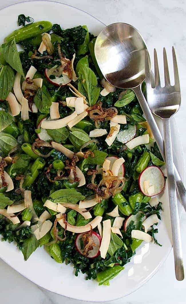 Kale Snow Pea Sald with Radishes