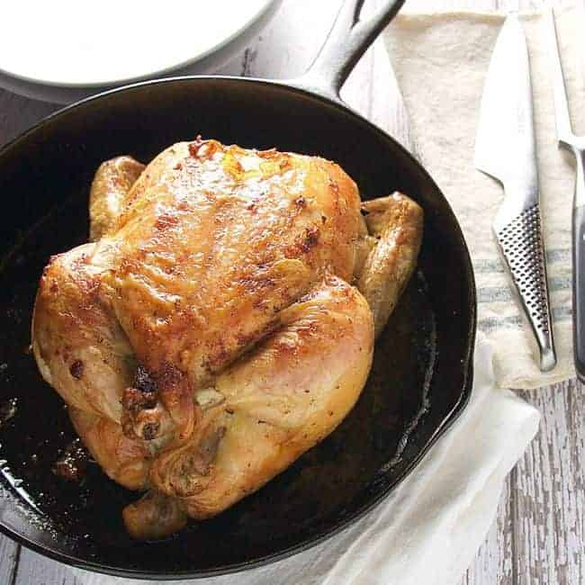 Easiest Crispy Skin Herb Roasted Chicken - Pinch and Swirl
