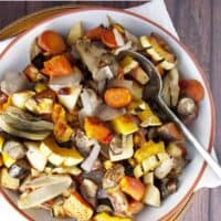 Roasted Fall Vegetables served in a shallow white bowl