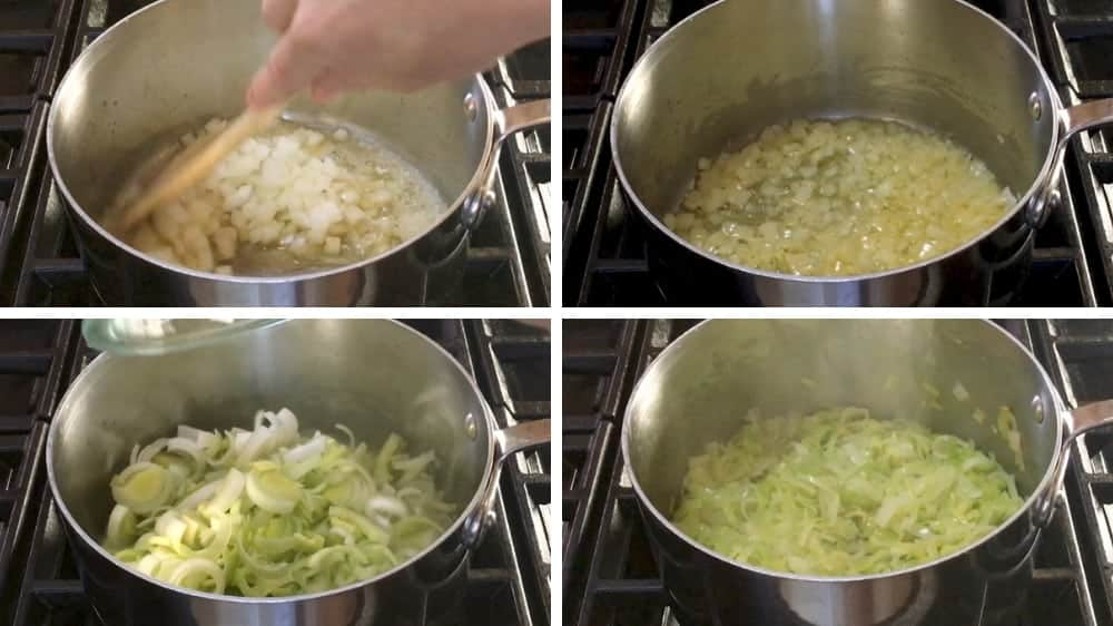Softening onions and leeks in butter for potato leek soup