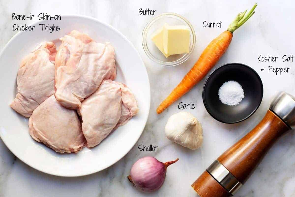 Chicken Ballotine Ingredients on a white marble board